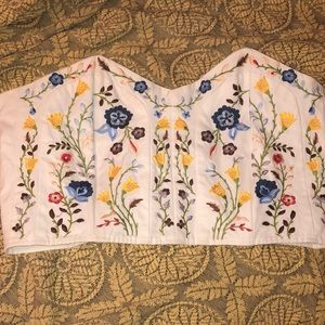 White embroidered top shop flower corset